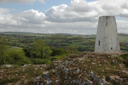 130522TGVIEW4-Trig point on summit of Bryn Euryn