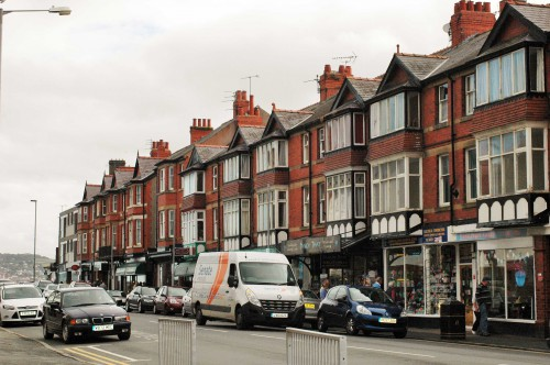 Rhos-on-Sea's 'high street' lined with tall Victorian terraced buildings