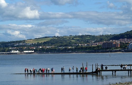 9/8/11-Crabbing from the jetty, Rhos-on-Sea
