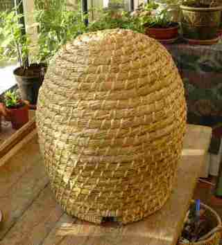 A traditional lip work bee skep