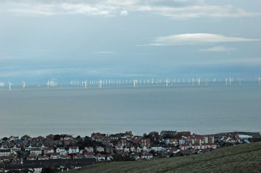 Rhos Point and the ever-growing array of wind-turbines
