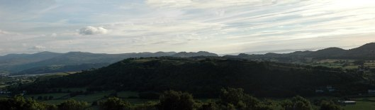 Evening panorama from Bryn Euryn. (click on image for a better view)