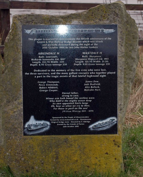 Memorial to the two vessels lost in the Severn Railway Bridge disaster