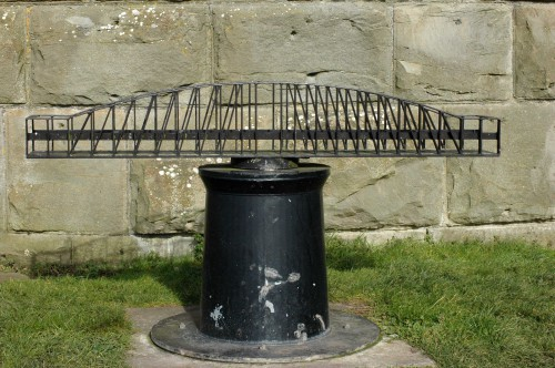 Model of the swing bridge that used to carry the railway over the canal