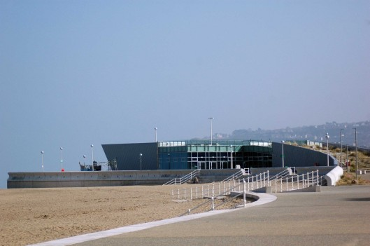 The water sports centre at Porth Eirias is finished but not yet occupied..