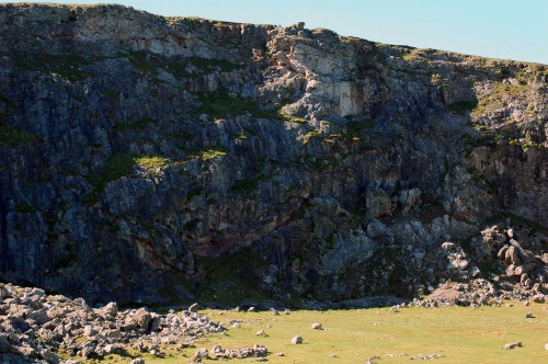 Cliff face of the old quarry  that is now inhabitated by Jackdaws
