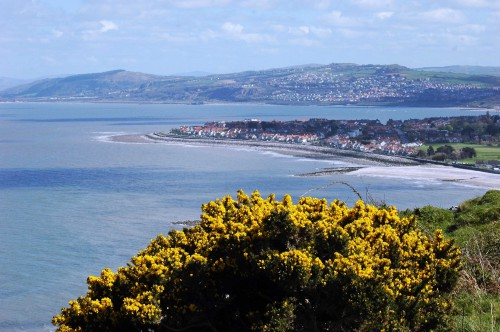View from the cliff edge showing the route of the Coast Path from Abergele, past Lladdulas and around Colwyn Bay and Rhos Point