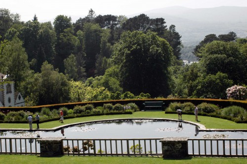 View from an upper terrace garden onto a lily pond