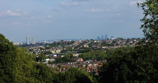 View to London city skyline - click to enlarge