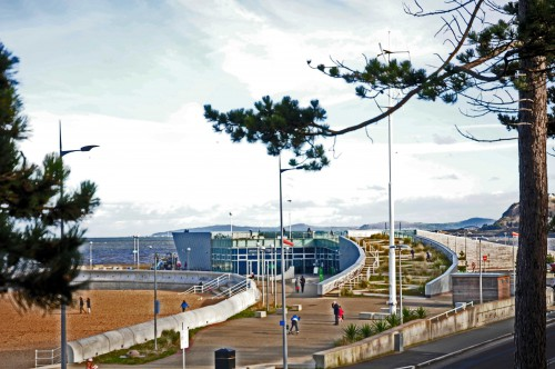 The elevated pathway offers a good view of the Porth Eirias Watersports centre